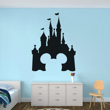Mickey Mouse Castle Vinyl Wall Sticker Boys Room Decor  Mickey Head Design Vinyl Decals Fairytale Castle Wall Vinyl Poster AZ032 2014 new design inflatable castle mickey mouse for sale