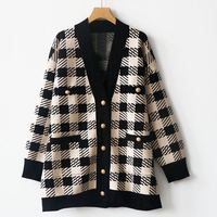 2019 autumn and winter color matching plaid cardigan coat v neck decorative knit cardigan for women