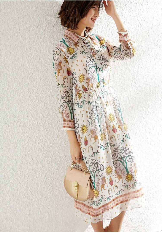 Maxi Soie Imprimé Femme Manches Printemps De Longues En Mousseline Robe Printing 0wm8nvNO