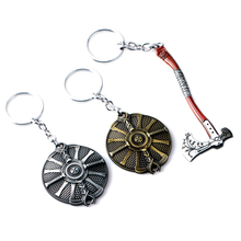 God Of War 4 Kratos Axe Shield Keychain Weapon Model Pendant Key Chain Key Ring for Men Game Fans Collection Souvenir Gifts game god of war keychain olympus kratos metal key rings blades of chaos kids gift chaveiro key chain jewelry ys10927