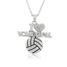 New fashion I love volleyball  crystal pendant necklaces for Men and women Sports happy gift