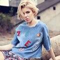 Женщины топы тис джинсовые футболка с коротким широкий вышивка письмо птица рваные джинсы рубашки майка женская футболка летняя одежда