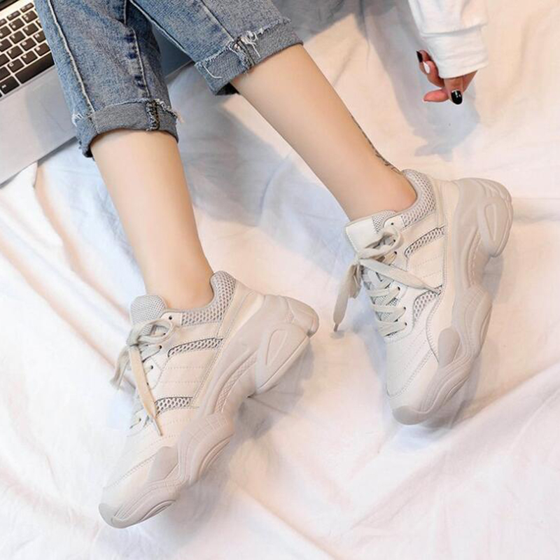 Mm291 Harajuku De Plein Semelles Épaisses Sport À Simple Sauvage Air Femmes Solide Chaussures Plates Confortable En Couleur blanc Respirable Beige AxprA4Tqw