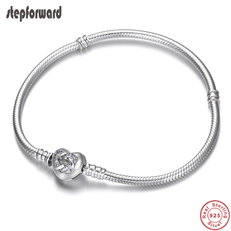 Классический любовный семейный тематический браслет из стерлингового серебра 925 пробы с застежкой в виде сердца, цепочка под змеиную кожу,
