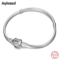 Classic Love Family Theme 925 Sterling Silver Heart Clasp Charm Bracelet Snake Chain Fit DIY Brand Bracelets For Women Jewelry