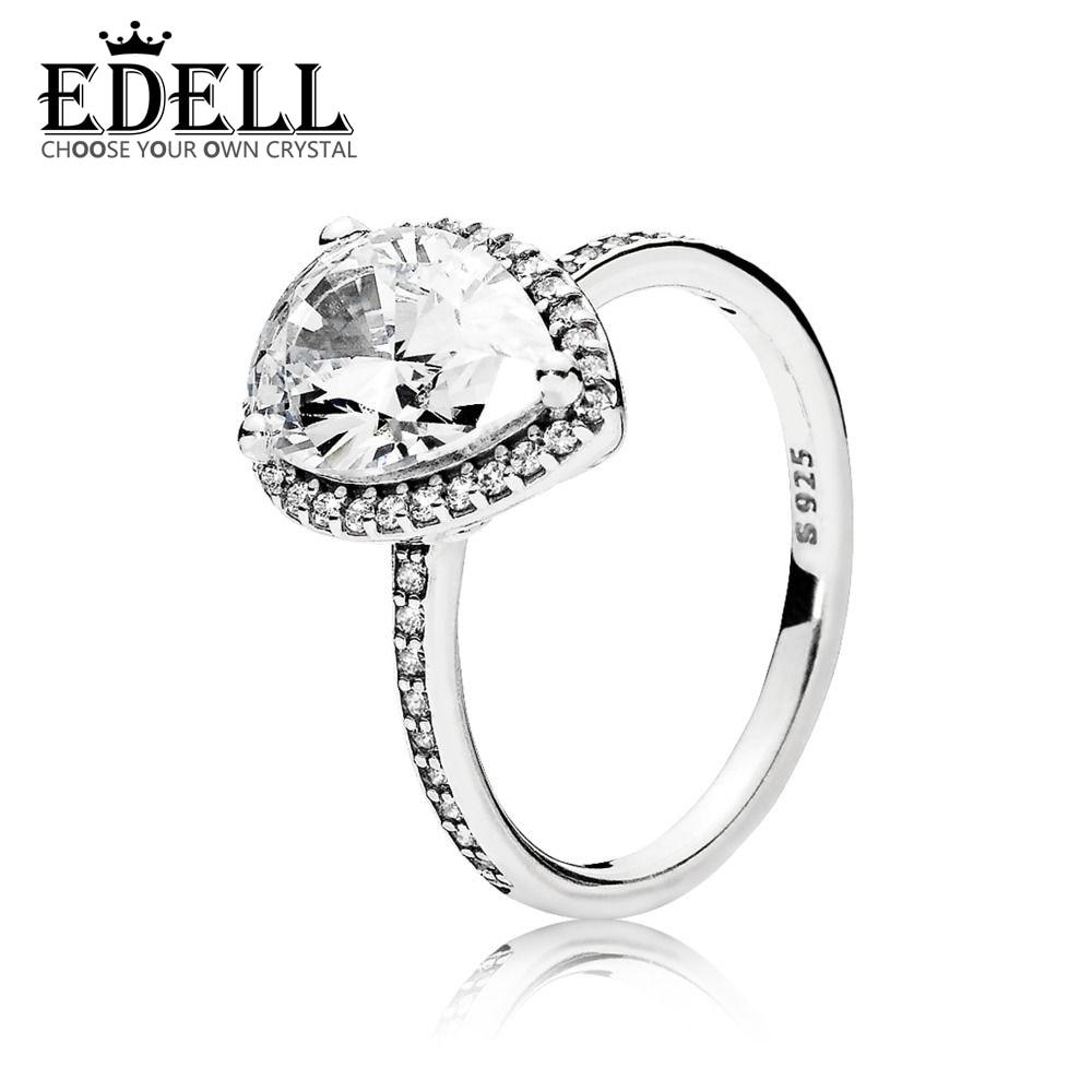 EDELL 100% Sterling silver 1:1 Glamour 196251CZ RADIANT LARGE TEARDROP RING Original Women wedding Fashion Jewelry 2018