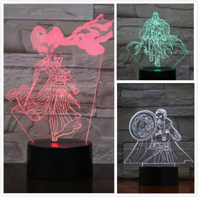 Usb 3d led veilleuse Marvel les Avengers super héros docteur étrange Figure 3D Illusion antique un RGB table lampe chambre néon