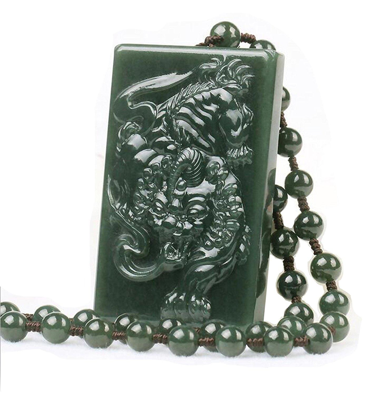 Koraba bijoux fins 100% pur naturel sculpté à la main vert Jade sûr riches mauvais esprits courageux troupes amulette cheval collier