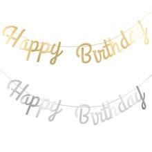 Baner urodzinowy złoto srebrne litery wszystkiego najlepszego z okazji urodzin girlanda Baby Shower chłopiec dziewczyna dekoracja urodzinowa