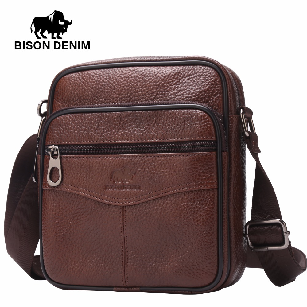 ФОТО BISON DENIM 2017 Summer Vintage Brown Slim Shoulder Bag Small mini bags Genuine Leather Crossbody Bag Casual Designer