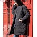 Grosso quente acolchoado-algodão linho roupas zanja permanente plissado magro breve longo enorme casaco de inverno da marca