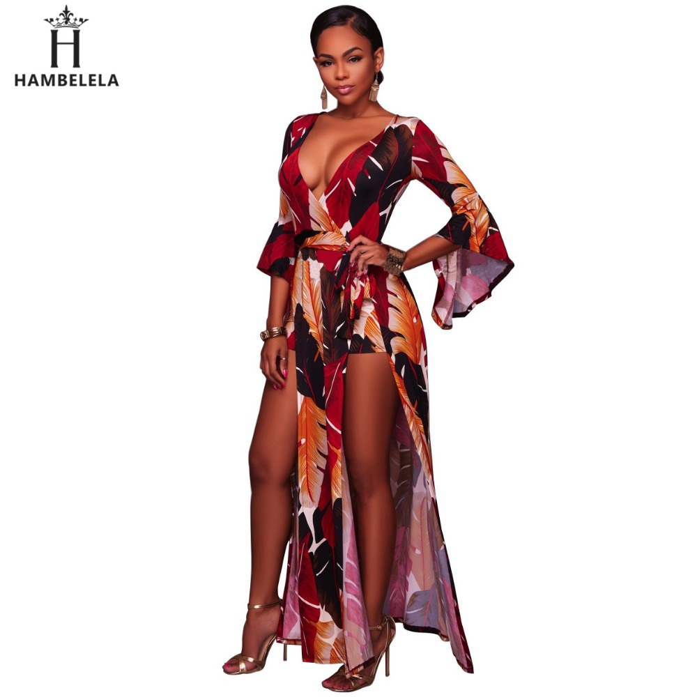 Hambelela New Arrival Women Dress Party Body Combinaison Sexy Floral Prints Split Long Dress Romper Shorts Autumn Maxi Dress