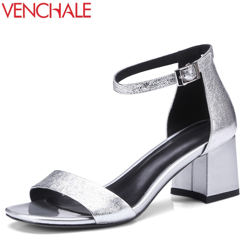 VENCHALE summer 2018 new fashion sandals high heel sheepskin square cover heel buckle strap two colors large size women shoes venchale 2018 summer new fashion sandals wedges platform women shoes height heel 10 cm buckle strap casual cow leather sandals