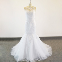 Tulle High Neck Venice Lace Robe De Mariage Mermaid Style Wedding Dresses Pearls