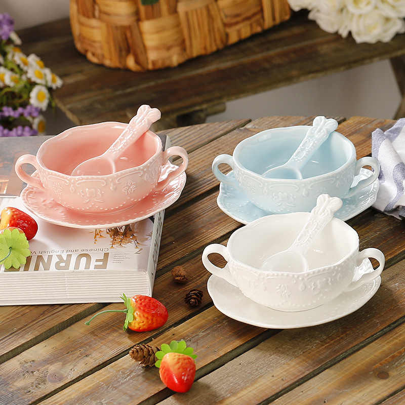 Basso-Relievo Lace Double-Ear Salad Bowl Ceramic Fruit Dessert Soup Bowl Spoon Rice Tray Food Container Dessert Plate Food Tray