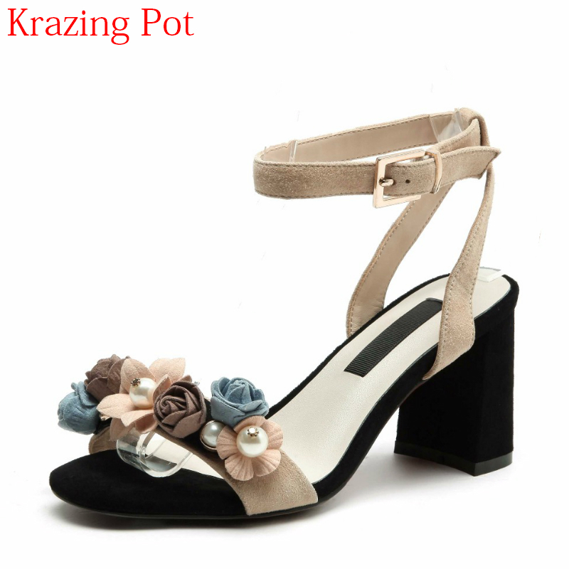 2018 Superstar Genuine Leather Ankle Strap Peep Toe Mixed Colors Flower Pearl High Heels Slingback Office Lady Women Sandals L16 2017 superstar cow leather platform european ankle strap peep toe print mixed colors classic women increased runway sandals 0 4