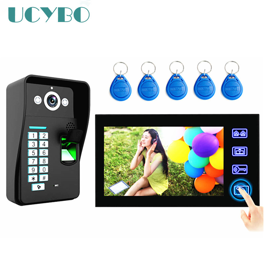 Touch Key 7 Fingerprint Video Door Phone Intercom System Doorbell Video doorphone w/ Fingerprint RFID Access Control biometric fingerprint access controller tcp ip fingerprint door access control reader