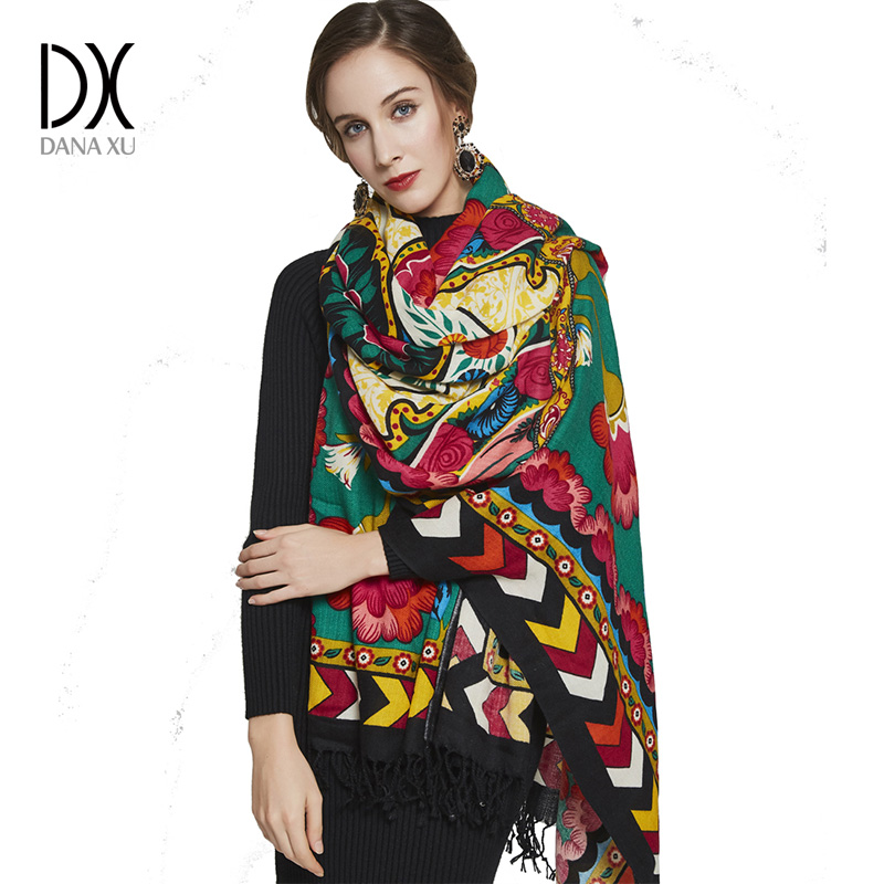 2019 Luxury Brand Large Pashmina Fashion Scarves and Shawls Warm Scarf Women Muslim Hijab Cashmere Poncho