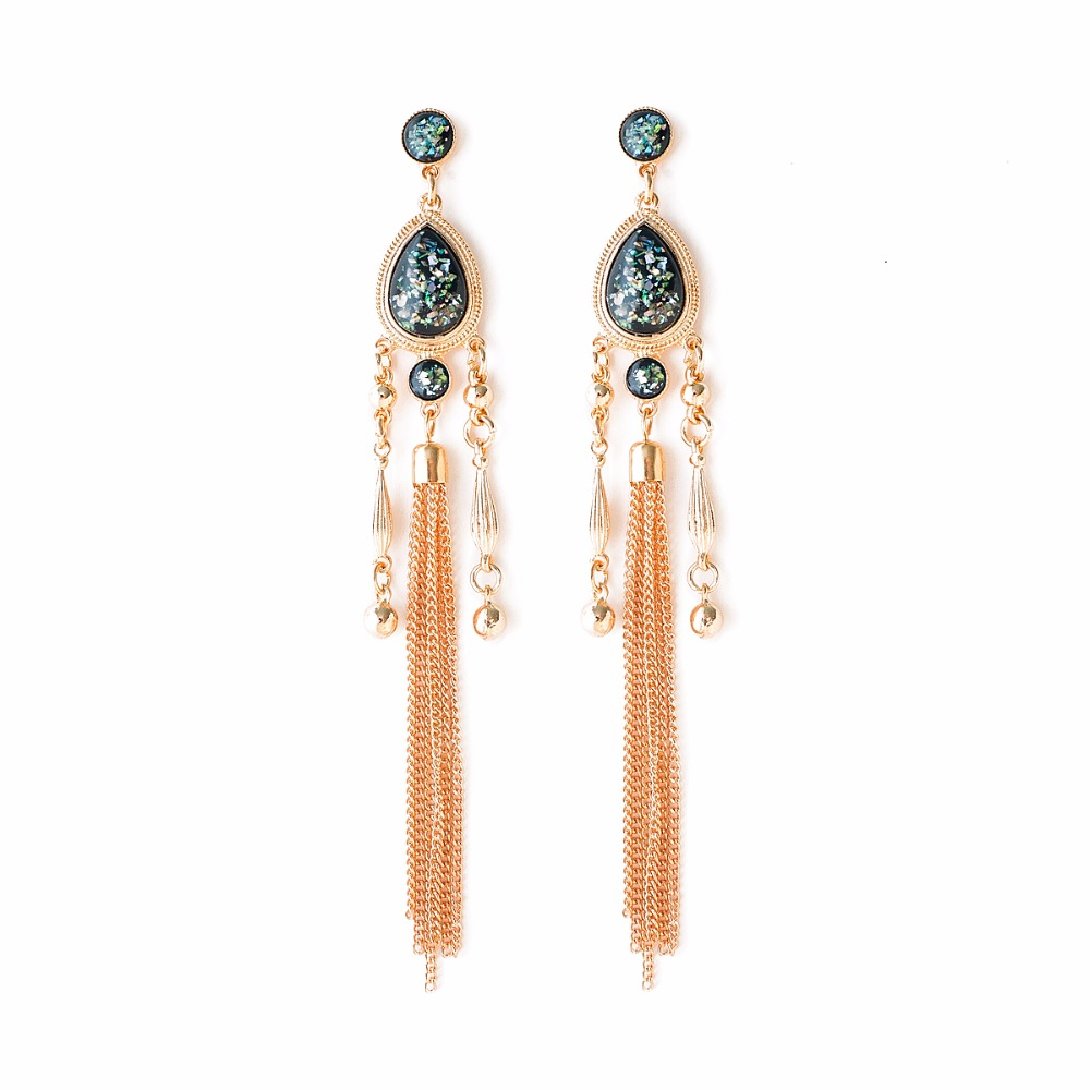 Fashion Punk Long Chain Tassel Earrings Gold Color Pendant Exaggerated Statement Dangle Earrings For Women Brincos 2017