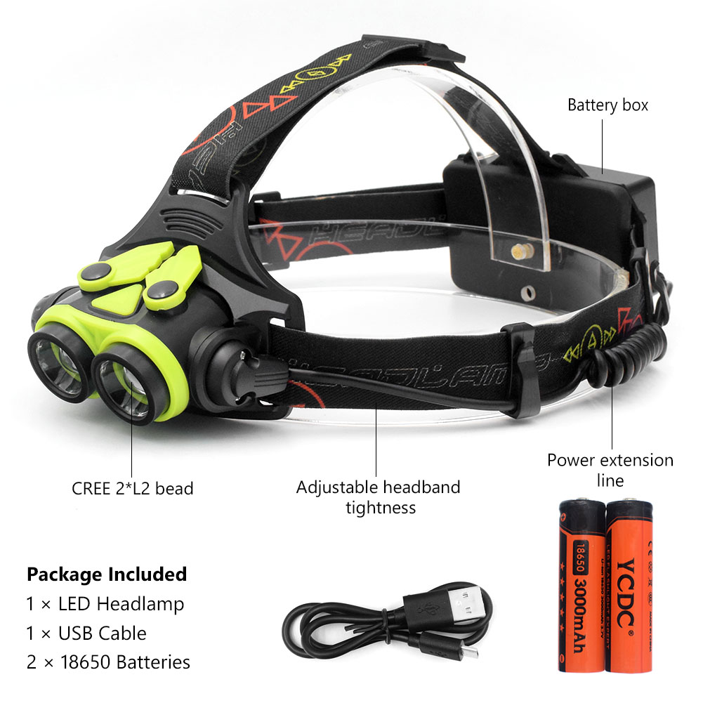 Powerful CREE L2 headlights headlamp Zoom waterproof 18650/AA rechargeable battery Led Head Lamp Camping Hiking Light +USB Cable b21 9000lm l2 cree led headlamp waterproof head light camping lamp boruit led lights by 18650 battery with usb cable