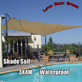 New Waterproof garden Shade Sail Canopy Square Sun Shade Net 3X4M Combination Awning