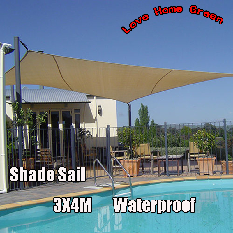 buy new waterproof garden shade sail canopy square sun shade net 3x4m. Black Bedroom Furniture Sets. Home Design Ideas