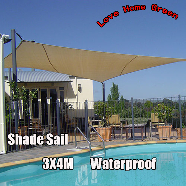 New Waterproof garden Shade Sail Canopy Square Sun Shade Net 3X4M Combination Awning & New Waterproof garden Shade Sail Canopy Square Sun Shade Net 3X4M ...