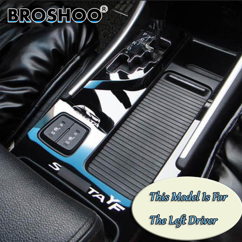 BROSHOO Auto Cup Holder Panel Car Sticker Decals For Hyundai Sonata 8 YF Auto Gear Bright Surface Decoration Decal Car-styling