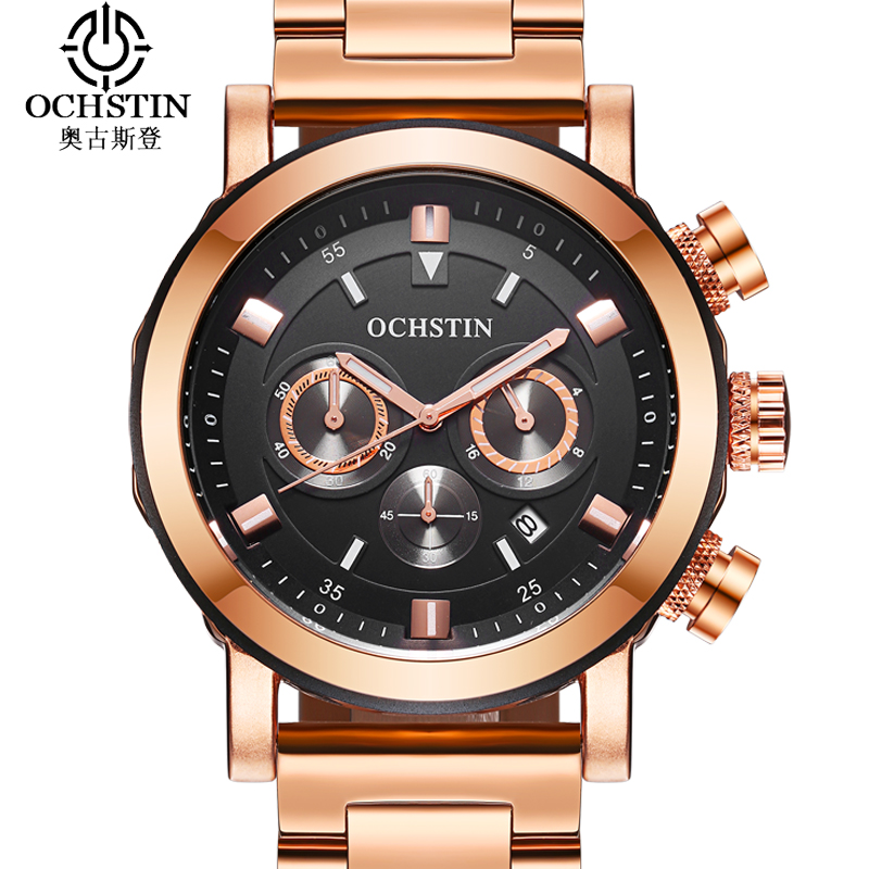 OCHSTIN New Arrival Stainless Steel Watch Men Gold Quartz Wristwatch Sport Luxury Watch Men Waterproof Date Clock Montre Femme xinew male clock men s stainless steel sport watch date quartz watch men clock horloges mannen wristwatch mens men clockz