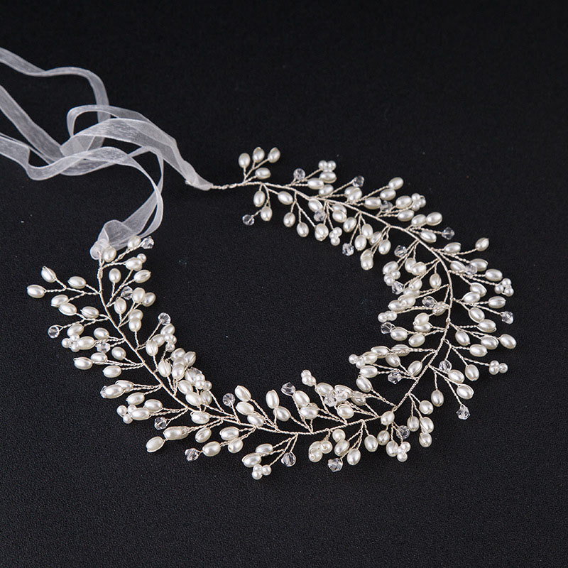 Fesyen Wanita Perhiasan Rambut Fabrik Mutiara Kristal Elegan Ikat Kepala Pernikahan Bridal Crown Floral Head Band Tiara Aksesori Rambut