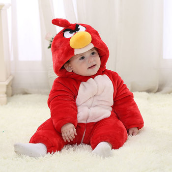2017 Winter Romper Baby Romper Cartoon Red Bird Cotton Romper T-shirt with Hoody For Baby Boys Infant Jumpsuit Baby Clothes фото