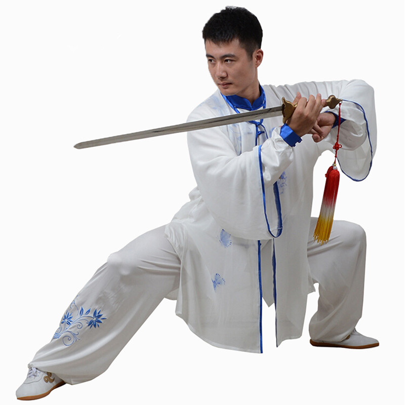 Custom Tai Chi Sets Embroidered Flower Stretch Rayon Martial Art Uniform Women Morning Exercise Kung Fu Performance Clothing