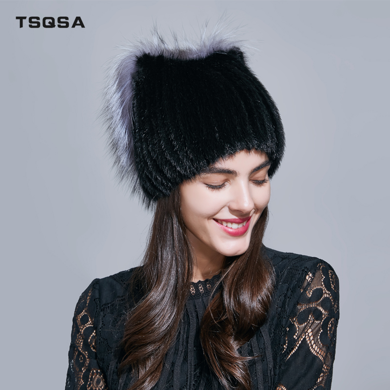 TSQSA Winter Warm Knitted Mink Hat For Women 2019 Fashionable-Novel Real Natural Fur Girl's Cap With Silver Fox Fur Caps TAH1709