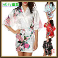 Sexy Ladies Satin Silk Print Night dress Gown Sleepwear Babydoll Pajama M--XXL HJWQ08
