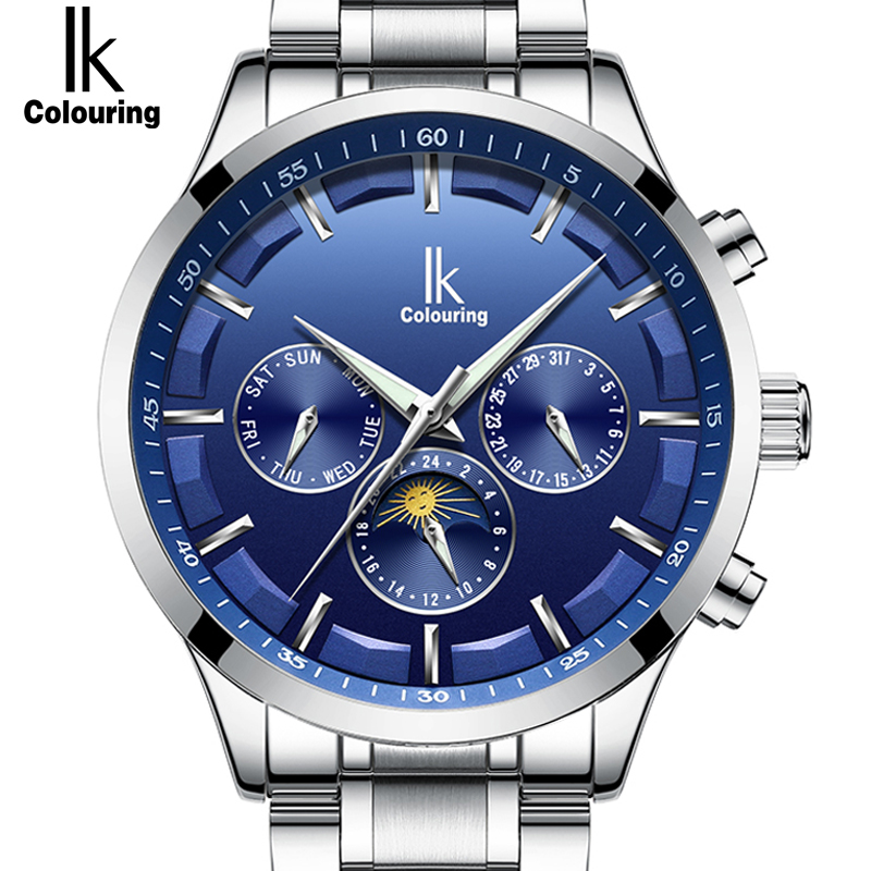 2019 Popular Color azul cielo automático mecánico para Hombre Reloj multifunción de acero completo de moda de marca de Reloj de Hombre-in Relojes mecánicos from Relojes de pulsera    1