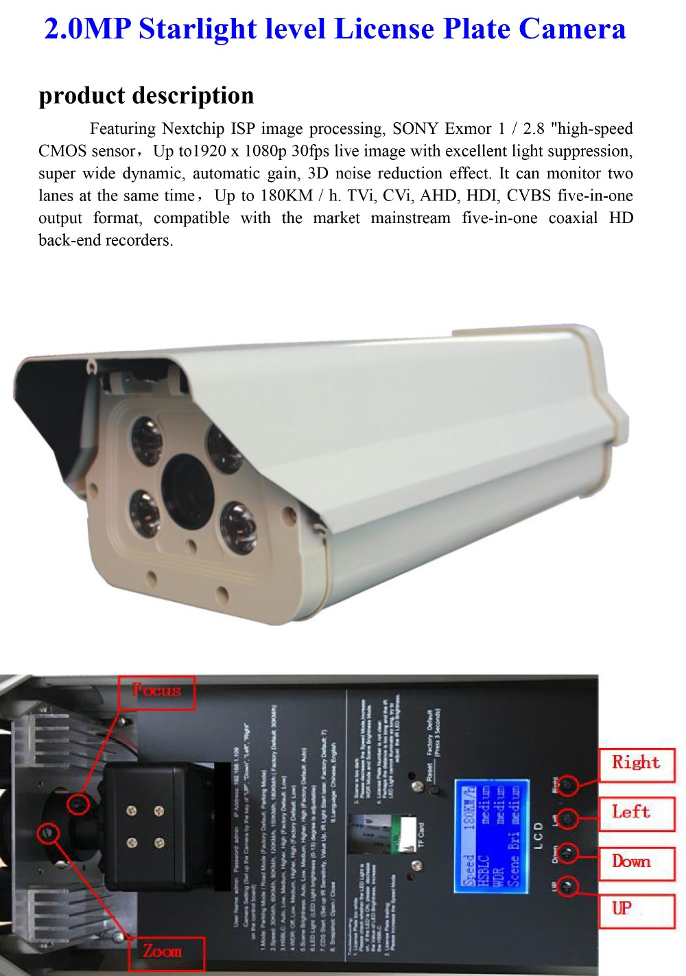Coaxial hd LPR Camera 4 Led 12''-1