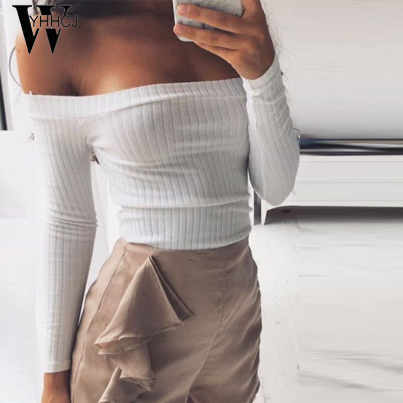 WYHHCJ 2017 sexy off shoulder tops tees ladies t shirt women slash neck casual crop top long sleeve t-shirt women