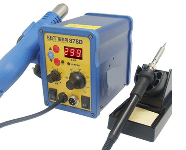 цены BEST 878D Lead free Hot Air Gun with Helical Wind +Rework Station Electric Soldering Irons