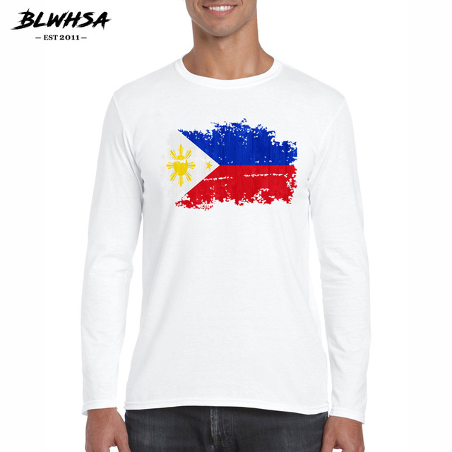 fda91ac220 BLWHSA Cotton Spring Autumn T Shirt Long Sleeve Philippines Flag Nostalgic  Style T-Shirts Mens