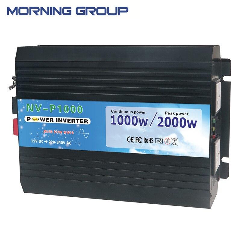 P1000 Pure Sine Wave Solar Power DC AC Inverter 12V 24V to AC 110V 220 Volt 1000W  Peak 2000W