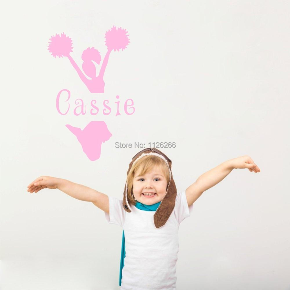 Custom Personalized Girls Name Wall Decals For Girls Room Aerobics Wall Stickers Art Vinyl Cheering Squad Home Decor