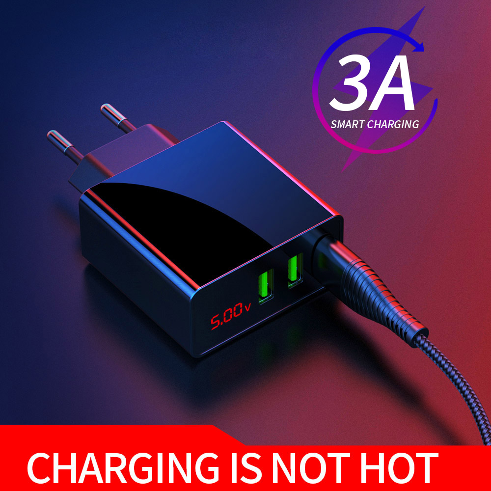 YKZ Mobile Phone Charger LED Display 3 USB Charger for iPhone Samsung Xiaomi EU