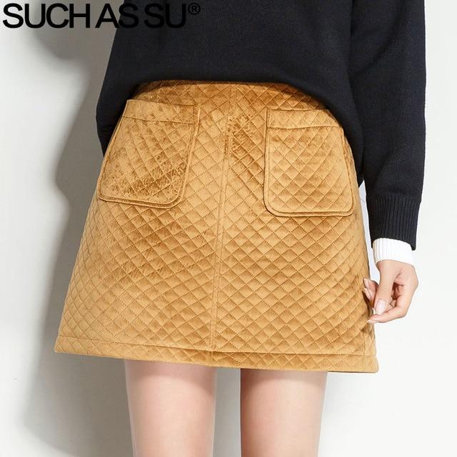 bba5783e2 SUCH AS SU New Corduroy Mini Skirt Womens 2017 Black Yellow Pocket Plaid High  Waist Short Skirt S-3XL Female A Line Skirt