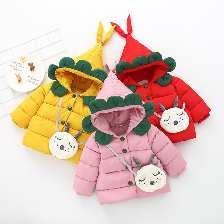 JIOROMY Children's down coat, a new winter edition, girls' thickened hooded cotton suit, single breasted 861 girls single breasted raw hem skirt