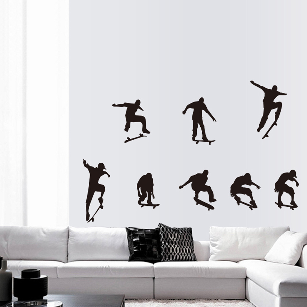 diy black skateboard sports cool life simple wall sticke stickers