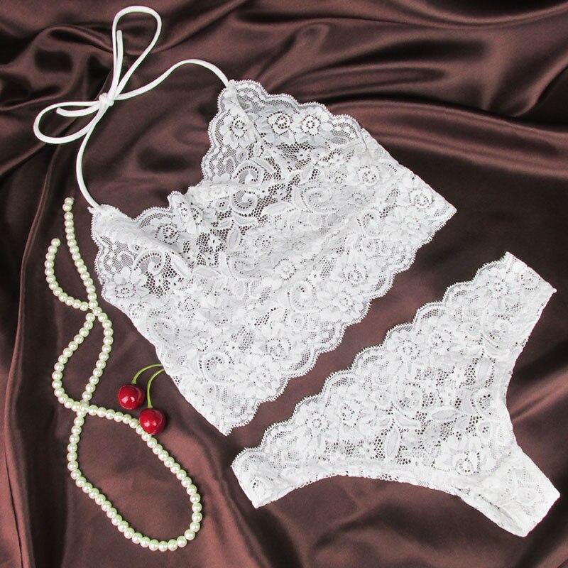 Sexy Lace Bralette   Sets   Sexy Corset Hollow Lace Transparent Temptation Underwear Suits Solid Lingerie   Bras     Sets