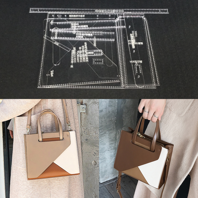 Two Types Acrylic Leather Template Transparent Leathercraft Templates Bag Pattern Stencil For DIY Shoulder Bag Sewing Pattern