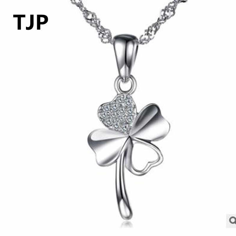 TJP Cute Clover Style Crystal Pendants Necklace For Women Wedding Party Pure 925 Sterling Silver Lady Choker Necklaces Accessory