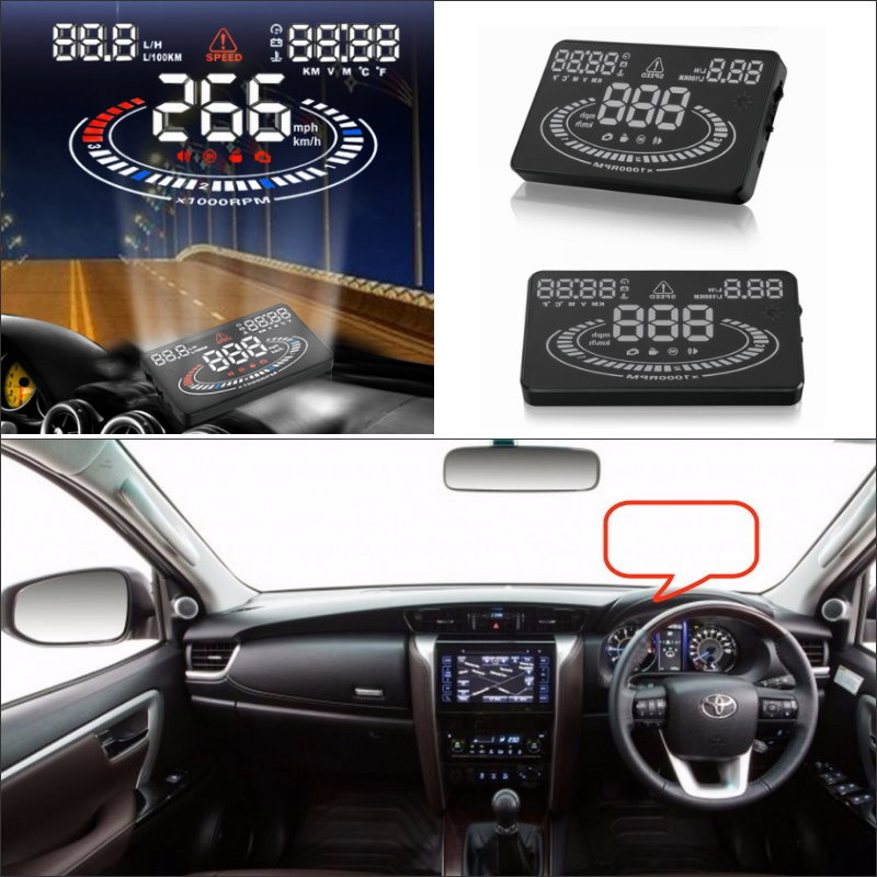 ForToyota Fortuner / Hilux Tacoma 2015 2016 - Saft Driving Screen Car HUD Head Up Display Projector Refkecting Windshield