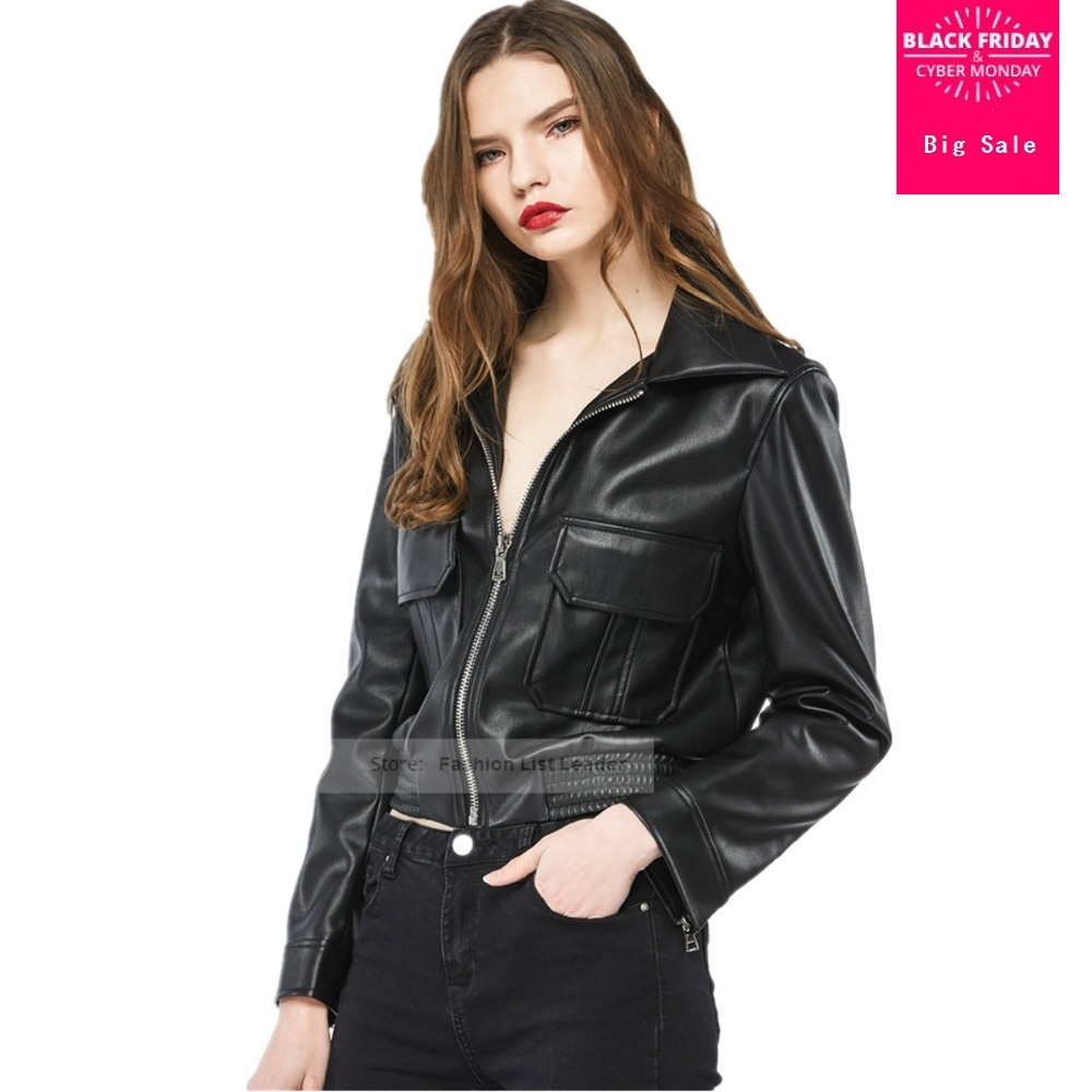 2017 female PU   leather   jacket fashion brand Slim street style with pocket motorcycle clothing   leather   jacket wj963 wholesale